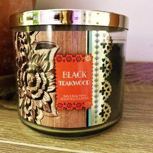 Rare Black Teakwood 14.5 oz Candle 3 wick + BONUS